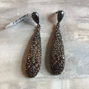 Cache Brown crystal silver earrings
